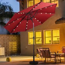 Umbrella Lights Walmart 10ft Patio Solar Umbrella Led Patio Market Steel Tilt W Crank Outdoor Burgundy