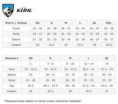 Kuhl Clothing Size Chart Sturtevants
