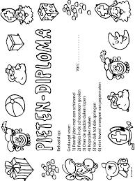 Kleurplaat Pietendiploma Sinterklaas Kleurplatennl