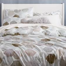 400 thread count organic geo sateen duvet cover shams west elm washed cotton
