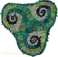 green lime triple spiral triskele hand knit rag rug sold