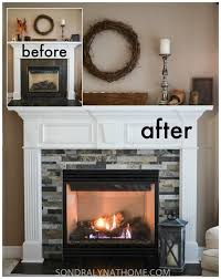diy stone fireplace surround before and after sondra