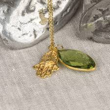 gold hamsa and green amethyst necklace gold hamsa and green amethyst necklace