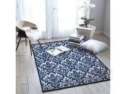 nourison damask ivory navy rectangular area rug