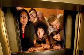 people talking in elevator. people stuck in broken elevator talking