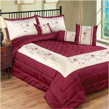 Double Bed Burgundy Sapphire Floral Bedspread Quilted Comforter ...