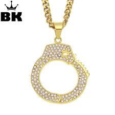 snless steel mens gold color hip hop crystal handcuff pendant necklace iced out jewelry rhinestone 5mm 70cm cuban chain