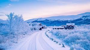 冬天,雪,路,山,房子,风景壁纸,高清图片,壁纸,自然风景-桌面城市