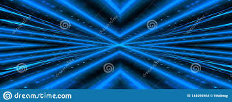 Light Neon Blue Abstract Dark Background With Brick Wall And Neon Light