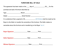 Free As Is Bill Of Sale Furniture Bill Of Sale Form Free Forms Templates