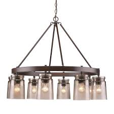 golden lighting chandelier. Golden Lighting Travers 8-Light Rubbed Bronze Chandelier With Frosted Artisan Glass Shades R