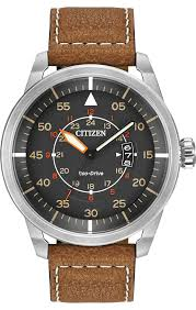buy citizen watches shipping on citizen watches from watchco citizen eco drive mens sport stainless steel case brown leather grey dial silver watch