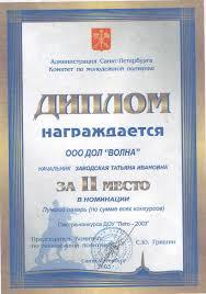 Объединение детских лагерей Карельский Перешеек Волна Комитет по молодёжной политике Диплом за 3 е место в номинации Лучший лагерь лето 2003