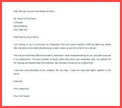 One Weeks Notice Letter Notice To Quit Job Template Uk One Week Resignation Two Weeks Retail