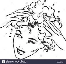 washing hair clipart.  Washing Woman Washing Hair  Retro Clipart Illustration Throughout