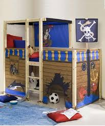 beautiful image of pirate bedroom decoration using rustic solid pine wood pirate kid bunk bed frame and ivory white kid room wall paint ideas how to create