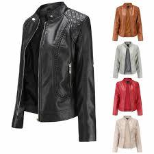 <b>Women's</b> Fashion Clothing Collar Pu Jacket <b>Long</b>-<b>sleeved Zipper</b> ...