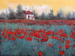 poppy field painting un campo di papaveri by guido borelli