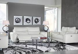 White Leather Living Room Design Astoria Heights White Leather 2 Pc Power Reclining Living