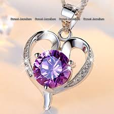 details about silver heart purple diamond necklace love wife promise xmas gift for her women