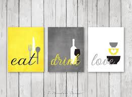 Kitchen Wall Art Print Set - Eat Drink Love - Coral, Turquoise, Mustard,  White // Modern Kitchen Decor // Set of Many Sizes // Unframed