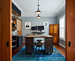 office industrial design. Industrial Design Home Office With Dark Wood Flooring Chrome Counter Height Stools