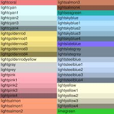 Cmyk Pastel Color Chart Named Colors