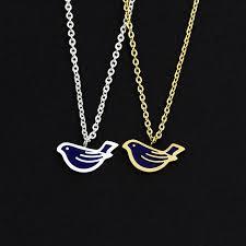 10pcs lot whole tiny enamel blue bird necklaces pendants women accessories stainless steel chain adjule jewelry