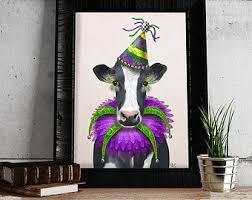 mardi gras cow etsy
