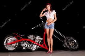 pinup girl with custom chopper motorbike stock photo membio