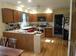 best decoration of open concept kitchen with u shape cabinet
