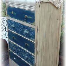 country distressed furniture. Antique Vintage Upcycled Repurposed Tall Waterfall Style Dresser, Handpainted Furniture, Cottage Chic, Bohemian Country Distressed Furniture