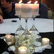 Glam centerpiece idea - Upside wine glasses