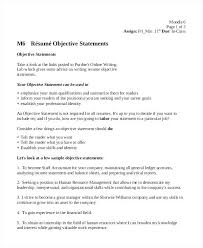 Great Objective Statements For Resu Example Of Objective Statement