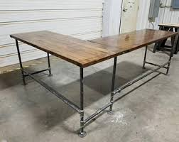 large office table. L-Shaped Rustic Desk, Industrial Computer Large Office Gaming Corner Table