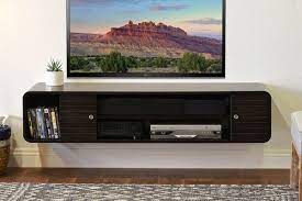 rounded curved floating tv stand