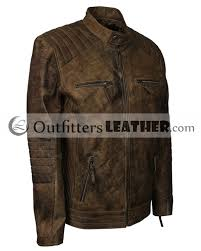 bug fix distressed brown quilted shoulders casual biker mens leather jacket