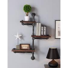 Shelves:Marvelous Industrial Wood Floating Wall Shelf Shelves For Books  Unique Bookshelves Rustic Style Metal