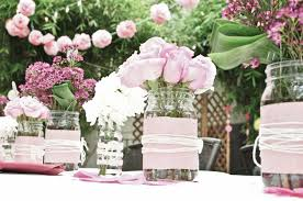 decoration: Romantic Wedding Centerpieces To Decorated Mason Jars Original  With Lovely Rose Flower And White