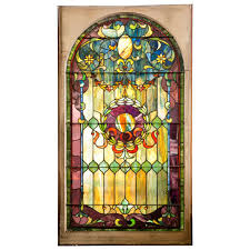 antique stain glass window from large estate for