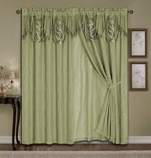 com luxury jacquard curtain set 4 piece sage ds with backing valance tie backs home kitchen