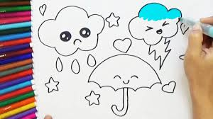 how to draw cute umbrella and clouds cute and easy bodraw