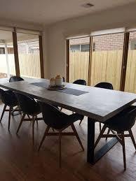 concrete dining table. Concrete Dining Table - Steel Loop Legs L