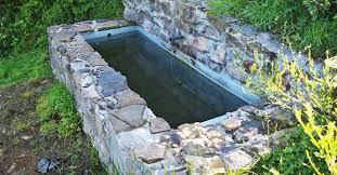 water troughs in the garden