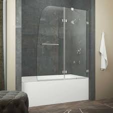 anzzi herald series 48 in by 58 in frameless hinged tub door in chrome