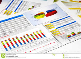 Sales Report In Statistics Graphs And Charts Stock Image