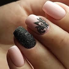 pink and black gel nails design
