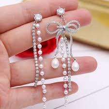 Platinum <b>925 Silver Needle Micro-Inlaid</b> Zircon Asymmetric Pearl ...
