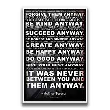 Mother Teresa Anyway Quote Poster 18 Inches By 12 Inches Premium 100lb Gloss Poster Paper Jsc116