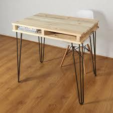 reclaimed office desk. reclaimed industrial pallet office desk hairpin legs